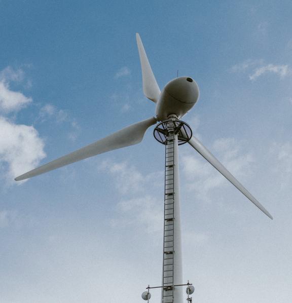 below view of a wind turbine