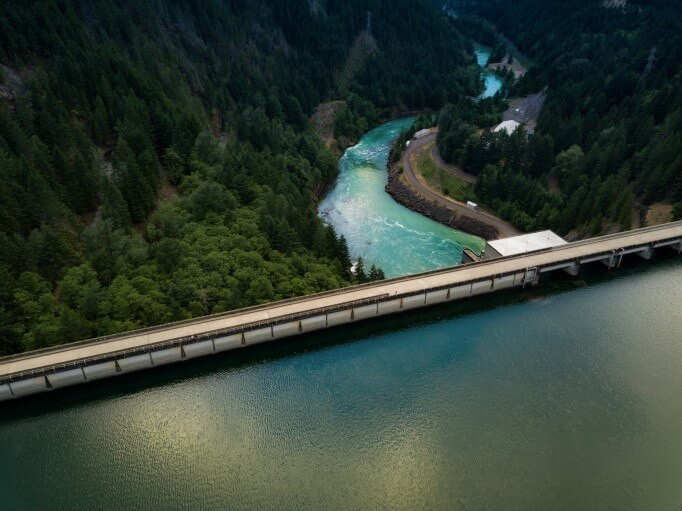 Aerial view of water dam